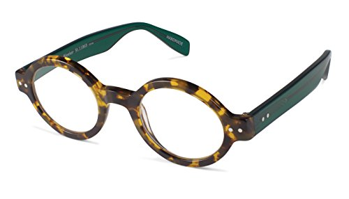 Bleeker Street - Round Trendy Fashion Reading Glasses for Men and Women - Tortoise/Evergreen (+1.25 Magnification Power) (Reading Street Scojo Glasses)