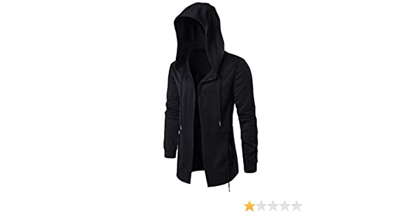 RONSHIN New Dark Mens Windbreaker Long Cloak Hooded Coat at Amazon Mens Clothing store: