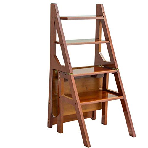 QTQZ Brisk- Solid Wood Ladder Multi-Function Folding Ladder Thick Inner Ladder Mobile Stairs Five Steps Simple Small Ladder Multifunction Ladder Stool Shelf (2 Colors) (Color: Deep Walnut Color)