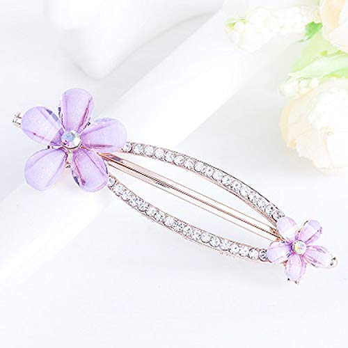 A Multicolor Elegant Barrettes Hair Clips Amazing Crystal Hair Pins For Women And Girls,CHG-650Purple ()