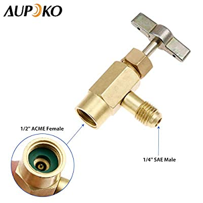 R134A Can Tap Refrigerant Dispenser with Tank Adapter, 1/4'' Male Port Screw Safety Check Valve Bottle Opener, 1/4'' Female to 1/2''Male Tank Adapter for Air Conditioner Manifold Freon Charging Hose: Automotive