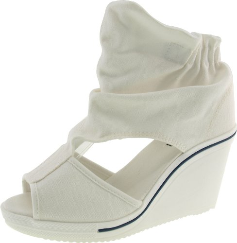 Maxstar Women's 775 Open Toe Elastic Ankle Canvas Wedge Heel Sandals White 7 B(M) US (Canvas Open Toe Wedge Heel)