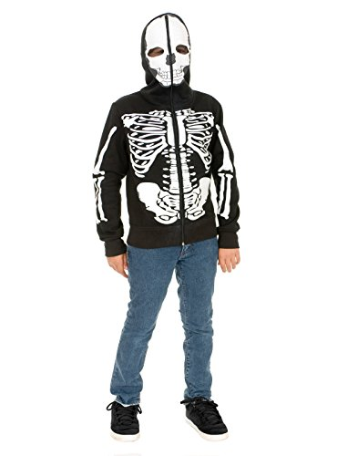 [Skeleton Sweatshirt Hoodie Costume - X-Large] (Boys Skeleton Sweatshirt Hoodie Costumes)