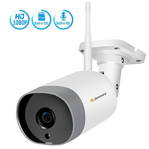 Jennov IP Camera Security HD1080P Wireless Outdoor Security Camera WiFi CCTV Home Video& Audio Surveillance Pre-Installed 32G Micro SD Card Motion Detection Two -Way Audio …