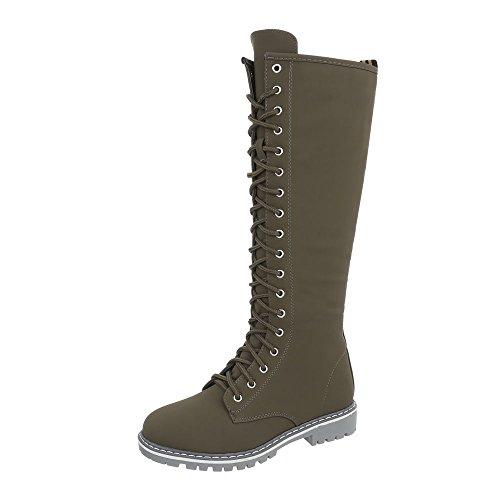 Mode High design Baskets Sneakers Femme Chaussures Ital Kaki Plat Nc132 Espadrilles qEfTWw
