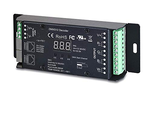 (Sunricher 4 Channel DMX RDM Digital PWM CV Decoder for RGB & RGBW LED Lighting 12-36V DC UL Recognized Controller 4x8A Dimmer SR-2102BEA-RJ45)