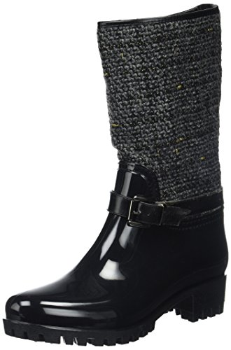 Be Only WoMen Tweedy Wellington Boots, Black Black (Noir Noir)