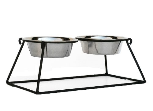 Pyramid Double Bowl Elevated Diner - 12'' - Raised Feeder by NMN Products