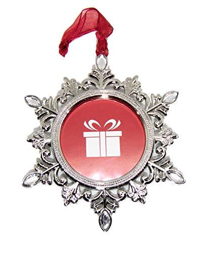 Studio Decor Silvertone Snowflake Shaped Photo Frame Christmas Ornament Photo Metal and Rhinestones]()