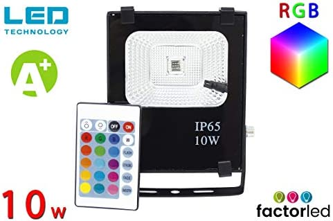 FactorLED Foco Proyector Exterior LED 10w RGB Profesional, incluye ...