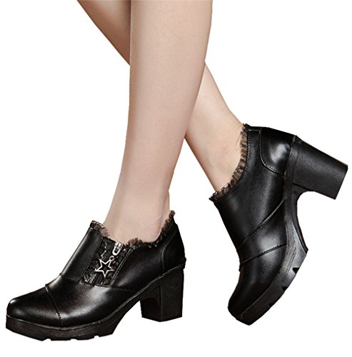 (DADAWEN Women's Casual Zipper Lace Platform Mid-Heel Square Toe Oxfords Dress Shoes Black US Size)