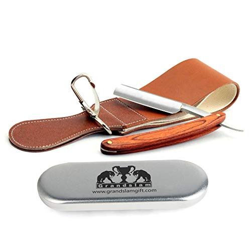 Grandslam Pro Natural Wooden Handle 420 Steel Straight Razor+2 Layers Leather Canvas Strap ()