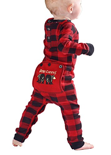 Plaid Bear Cheeks Flapjacks Baby Flapjack Onsie Pajamas by LazyOne | Adult Kid Infant Dog Family Matching Pajamas (18 MO)