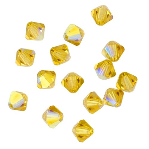 100 pcs 4mm Swarovski 5301 Crystal Bicone Beads, Lime AB, SW-5301