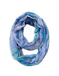Lucky Leaf Women Lady Lightweight Yarn Infinity Scarf Cozy Loop Muffler Wrap Scarves (Plaid Blue)