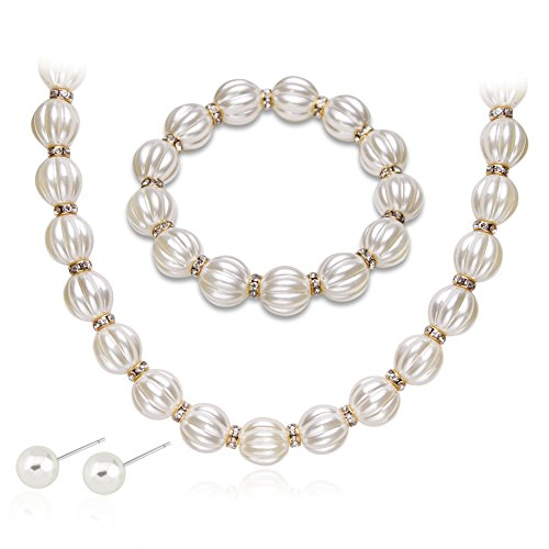 Hbinydepial Women Elegant Faux Pearl Rhinestone Necklace Earrings Bracelet Jewelry Set Gift