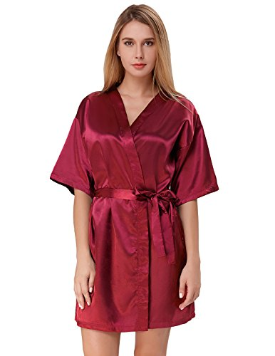 Women Mid-Length Dressing Gown Silky Bathrobe for Bride Wine Red Size L ZE51-3