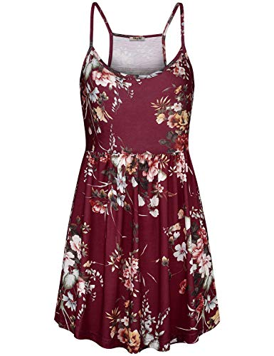 (Hibelle Baby Doll Tops for Women, Summer Empire Waist Tank Top Casual Scoop Neck Sleeveless Spaghetti Straps Racerback Tunic Camisoles Petite Stretch Clothes Wine Red Floral Medium)