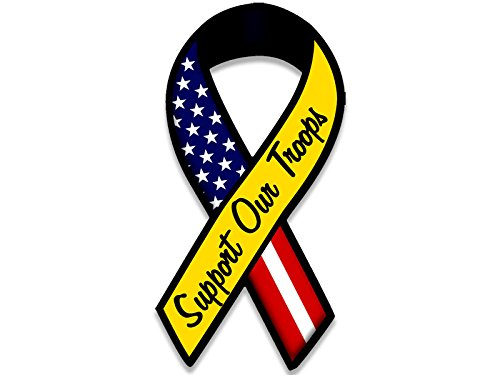 American Vinyl Ribbon Shaped Support Our Troops Sticker (Military Support Army Marines Navy)