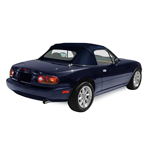 Mazda Miata MX5, 1990-2005 Factory Style Convertible Top, Zippered Heated Glass Window, Stayfast Cloth, Dark Blue