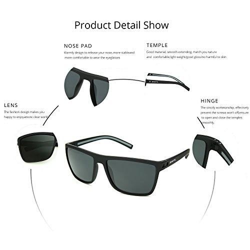 Cool Lens Square Men C2 Black 60mm ZENOTTIC Gray Polarized Glasses Frame Sunglasses Polarized A7fnpxqw5