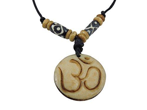 Handmade Tibetan Yoga Pendant Eternal Knot, White Metal, Yak Bone Pendant (Yak Bone Om)