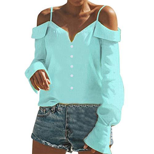Donna A Styledresser Menta Spalle Scollo Donna Scoperte Tumblr blusa Ampia V Magliette Con felpe E Verde AA5fqRw