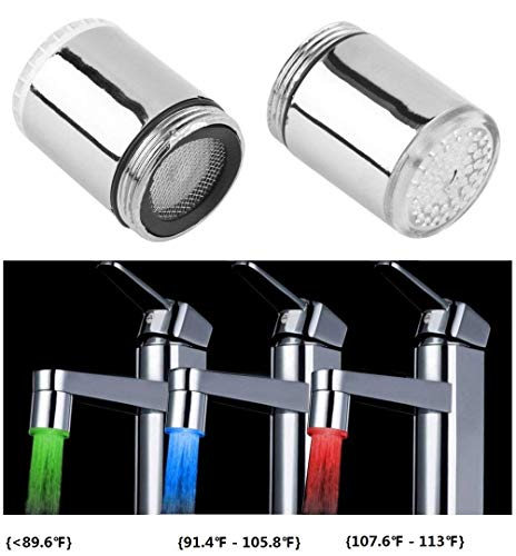 Cara 3 Color LED Light Changing Glow Temperature Sensor Shower Stream Water Faucet Tap for Kitchen Bathro om (2 PCS)