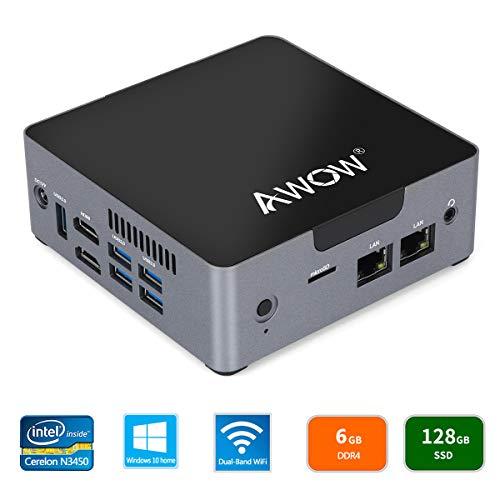 AWOW AK34 Mini PC Windows 10 Home Mini Desktop Computer Intel Celeron N3450/6GB DDR4/128GB SSD/HDMI/Dual-Band Wi-Fi/Gigabit Ethernet