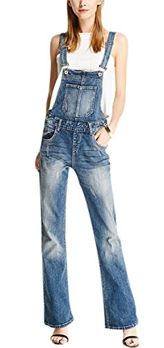 Gihuo Women's Adjustable Strap Distressed Ripped Denim Overalls Rompers Long Flared Pants (L, Dark blue)