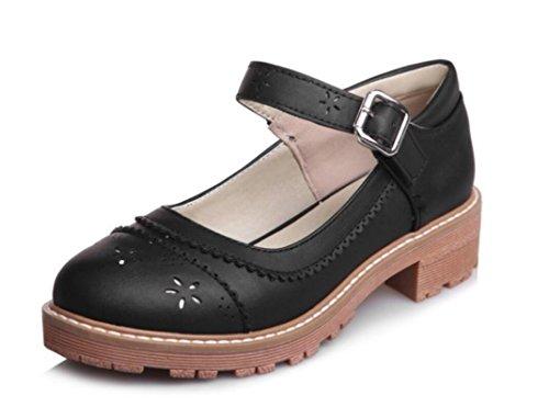 SHFANG Damas Sandalias Zapatos Primavera Otoño Verano Pu Ocio Cómodo Rugoso tacón Muchachas Estudiantes Compras diarias Cuatro colores 4cm Black