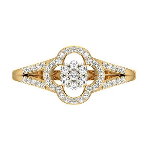 14K Or jaune 0,33CT TW Round-cut-diamond (IJ | SI) en diamant