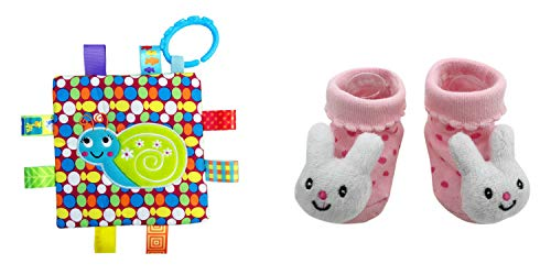 New Cute Baby Bunny Socks & Little Taggie Snail Blanket Theme 2-Pack 3-12 Months w/Gift Box ()