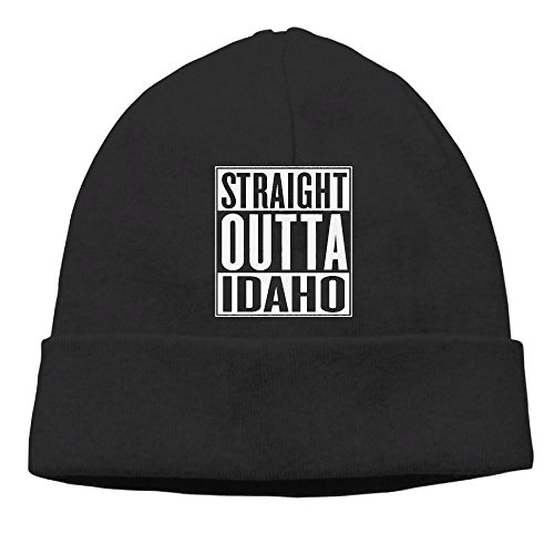 Black Vinyl Newsboy Hat (HG&&GH Straight Outta Idaho Sports Unisex Beanie Hat Sweat Wicking Beanie Hat For Unisex)