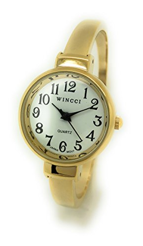 Ladies Big Numbers Skinny Metal Bangle Cuff Fashion Watch White Dial Wincci (Gold)