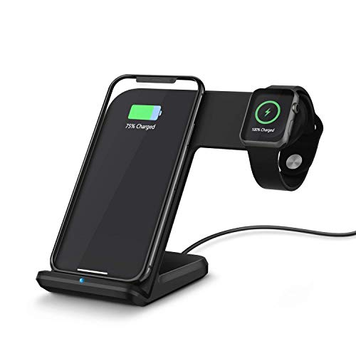 Wireless Charger Compatible Apple Watch 2 in 1 Fast Charging Stand Compatible iPhone Xs/XS MAX/X/8/8 Plus Qi-Certified Android Charge Station Compatible iwatch 4/3/2/1(Black)(Adapter not Included)