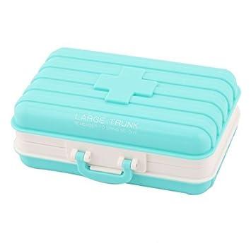 eDealMax plástico Maleta Diseño 6 ranuras Medicina cápsula de la píldora Caja de almacenamiento Organizador Fucsia