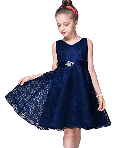 Gorgeous Elegant Long Wedding Party Bridesmaid Princess Gown Pageant Dress,Dark Blue,4T]()
