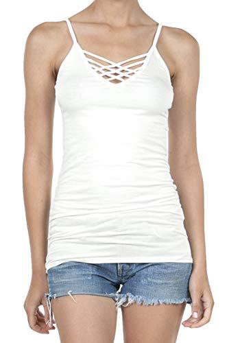 - 8076 Women's Adjustable Spaghetti Strap Criss Cross Long Cami Tunic Tank Top OFFWHITE XL
