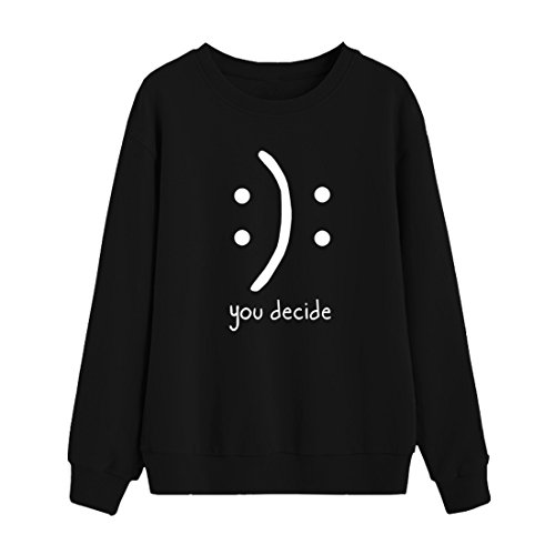 BLACKMYTH Women Round Neck Sweaters Graphic Cute Pullover Long Sleeve Funny Sweatshirts Black Large