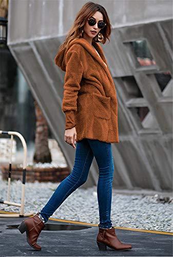 GXYCP Cachemira XL Abrigo Superior De Sólido Invierno E para Khaki Cálido De Medio Brown Color Otoño Mujer Abrigo xFfxr4