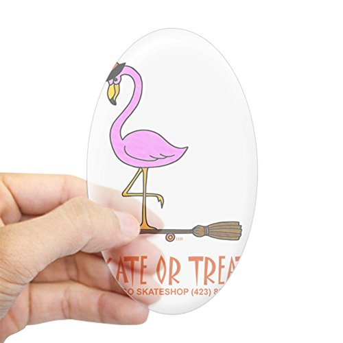 CafePress Halloween Flamingo Witch Shirt Sticker (Oval) Oval Bumper Sticker, Euro Oval Car Decal