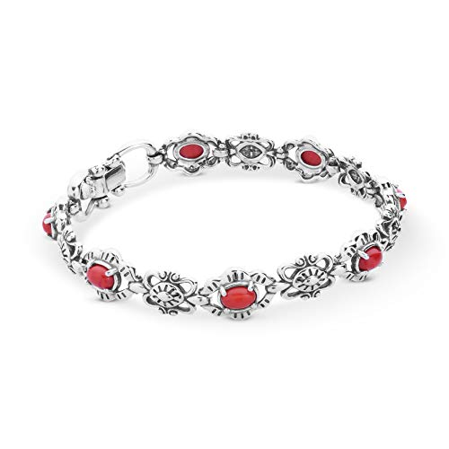 American West Sterling Silver Red Coral Gemstone Link Bracelet Size Small