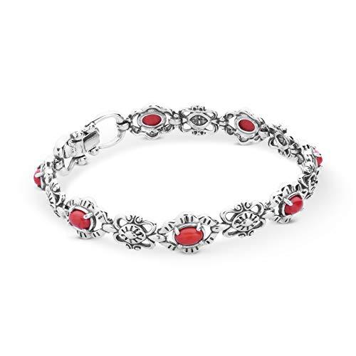 (American West Sterling Silver Red Coral Gemstone Link Bracelet Size Medium)