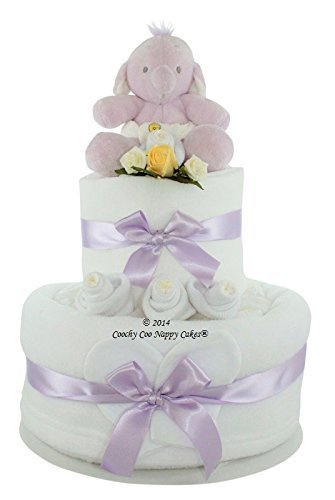New Humphreys Corner - 2 tier New Baby Gift Nappy Cake with Humphreys Corner Elephant soft toy - FREE Delivery (Two Tier) by Coochy Coo Nappy Cakes?