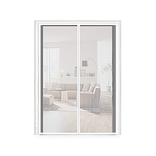 Magnetic Screen Door 72X80, Thermal and Insulation EVA Door Screen 72 X 80 Fit Doors Frame Size Up to 70W X 79'H Max with Full Frame Hook & Loop Magnet French Door Curtain(72x80 Inch, Transparent)