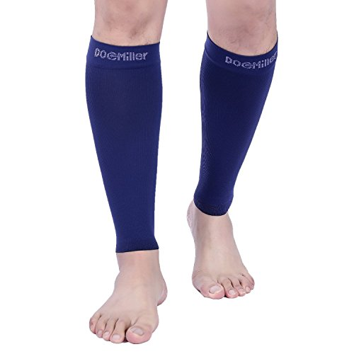 Doc Miller Premium Calf Compression Sleeve 1 Pair 20 30Mmhg Strong Calf Support Fashionable Colors Graduated Pressure For Sports Running Recovery Shin Splints Varicose Veins  Dark Blue  Medium