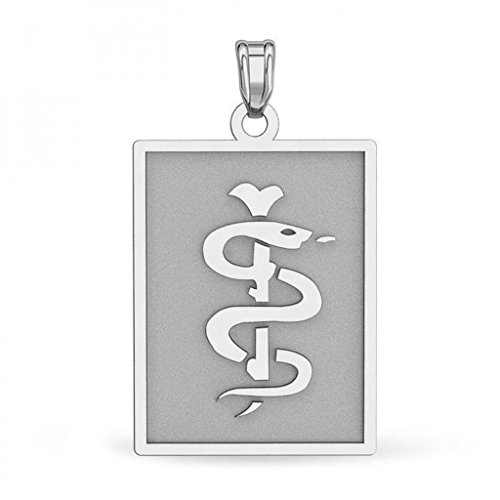 14K White Gold Rectangle Medical Pendant - 1 Inch X 1-1/4 (Rectangle White Gold Pendant)