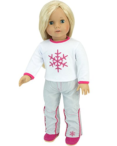 Snowflake T & Snowboard Pants | Doll Ski or Snowboard Outfit, 18 Inch Doll Clothes Fits American Girl Dolls | 2 Piece