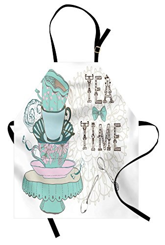 Lunarable Vintage Apron, Vintage Style Tea Time Party Print Floral Classical Cup Group Image, Unisex Kitchen Bib with Adjustable Neck for Cooking Gardening, Adult Size, Turquoise White]()
